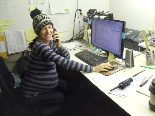 Jonnah multitasking in the office.