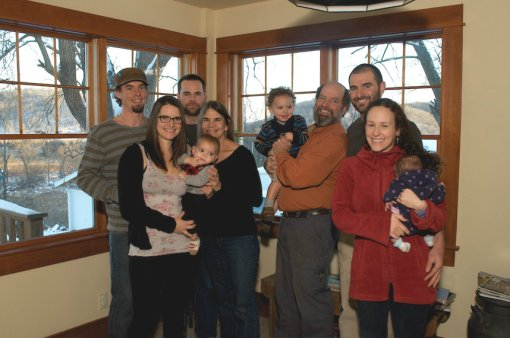 The Perkins Family:  (left to right)  Brian (Becky's partner), Becky (daughter), Felix (grandson), Eric (son), Barb (matriarch), Paavo (grandson), David (patriarch), Jesse (son), Jonnah (daughter-in-law), Mischa (granddaughter).