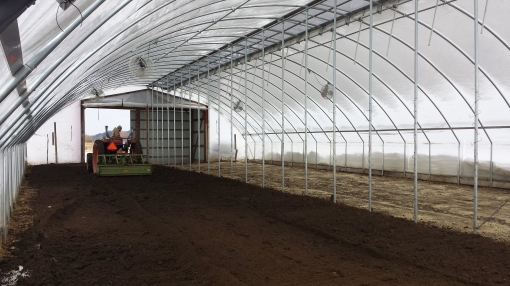 Early March. Jesse is tilling the soil in the colossal. Next it will be raked out by hand and then we can plant. See the snow leaning against the plastic wall? Thank goodness it's finally gone.