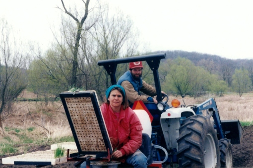 Season One: 1995; David and Barb transplanting onions in April. I can remember that day like it was yesterday. I was frozen cold to the bone. It was misting and 40 degrees. Likely my face reflects the feeling. I had to pick up every wet, cold cluster of onions. David must not be so cold, he's smiling.