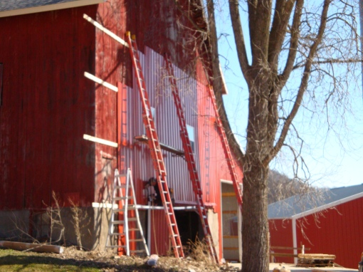 Siding the barn in the spring of 2010