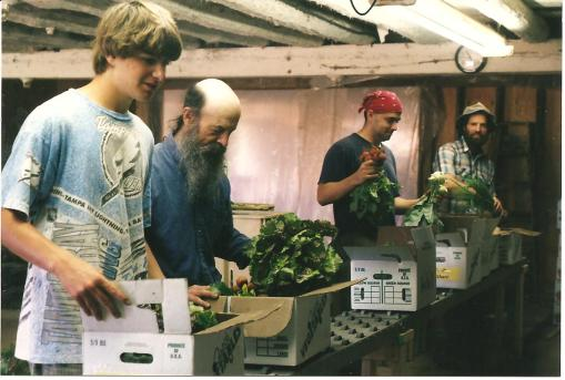 Jesse, Joe, Josh one of the first worker shares and David on the packing line our second season