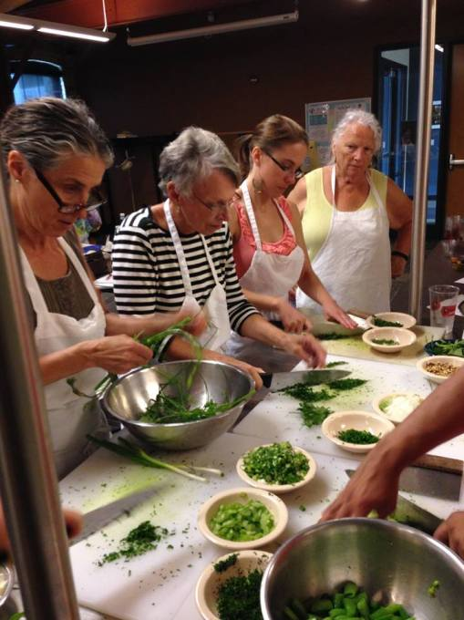 Slow Food Madison cooking class hosted at Goodman Community Center using Vermont Valley produce