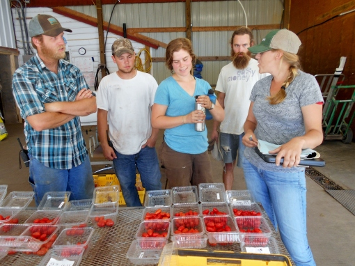 As we were looking at the tomatoes, the farm crew came in for lunch. Emily (who by the way was an employee on our farm several years ago, before getting her awesome job at Johnny's) captivates them as she explains what she is looking for and observing.