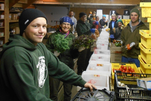 Thursday morning packing line. Left side: Tom (seasonal crew, driver), Barb (CSA manager), Ken (worker share),  Jesse (share distribution, farm manager) Collett (worker share), Chad (pack organization, driver, crew leader),Becca (crew leader); right side: Eric (packing shed manager, driver),Georgia (crew member), Lisa (worker share).