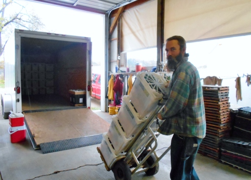 J-Mo (crew leader and driver) loading his truck this morning.