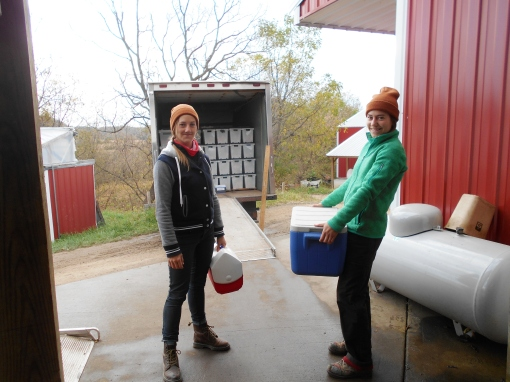 Alisha and Rosalyn from DreamFarm delivering their goat cheese.