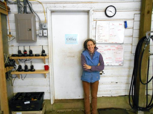 Jonnah (office manager/distribution) in front of her office - the old milk house of the dairy barn.