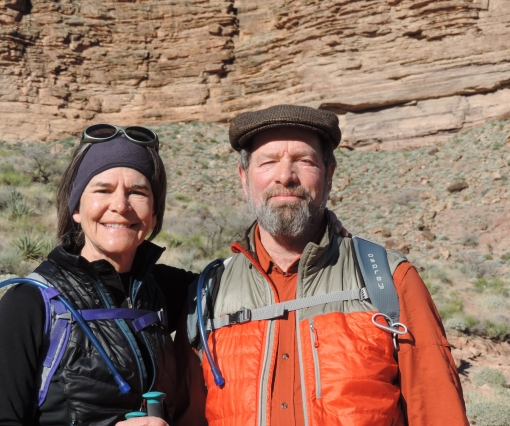 Your farmers Barb and David Perkins in the Grand Canyon. An amazing trip and something we have wanted to do for decades. We hiked down to the bottom, bunked at Phantom Ranch for two nights and then hiked up and out.