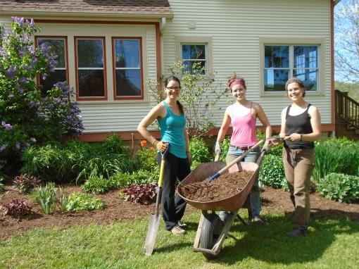 Garden mulching crew.