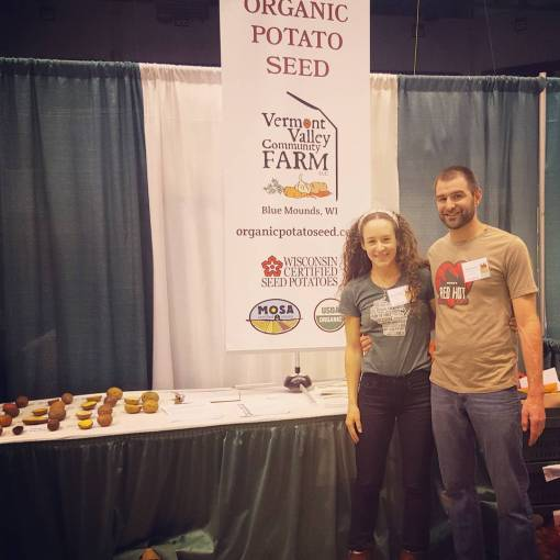 Jonnah and Jesse selling seed at the Midwest Organic Sustainable Education Service conference (MOSES). This is the largest organic conference in the country and it is held in LaCrosse WI.