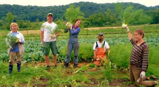 Fennel fire works! Vicki and Matt (worker shares), Abby, Eric J-Mo, Becca