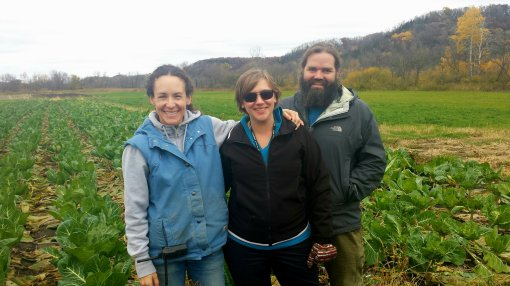 End of season gleaning. Jonnah (Vermont Valley Donations Coordinator), Amy Mach (Goodman Food Procurement/Processing Manager), and Keith Pollack (Goodman TEEN Works Manager) out in the field on a trip to the farm to harvest vegetables.